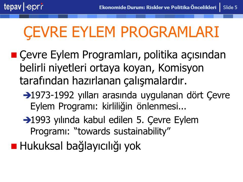 Ekonomide Durum: Riskler ve Politika Öncelikleri Slide 36 EHCIP (Yüksek Maliyetli Çevre Yatırımlarının Planlanması Projesi) 2005- OECD kaynaklı bir yazılımla (FEASIBLE) ekonomik modelleme.