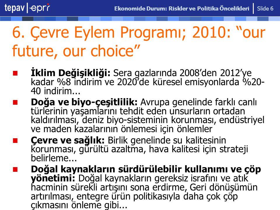 """Ekonomide Durum: Riskler ve Politika Öncelikleri Slide 6 6. Çevre Eylem Programı; 2010: """"our future, our choice"""" İklim Değişikliği: Sera gazlarında 20"""