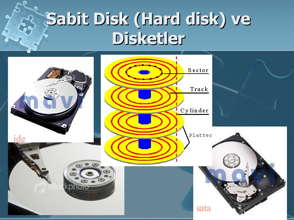 Sabit Disk (Hard disk) ve Disketler sata ide