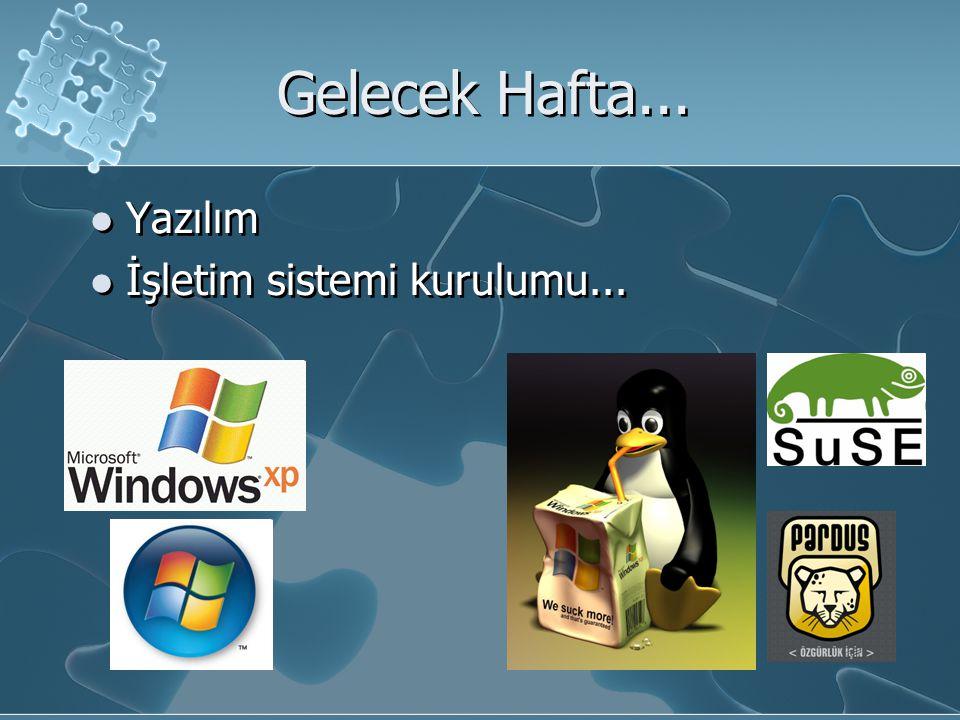 Gelecek Hafta... Yazılım İşletim sistemi kurulumu... Yazılım İşletim sistemi kurulumu...