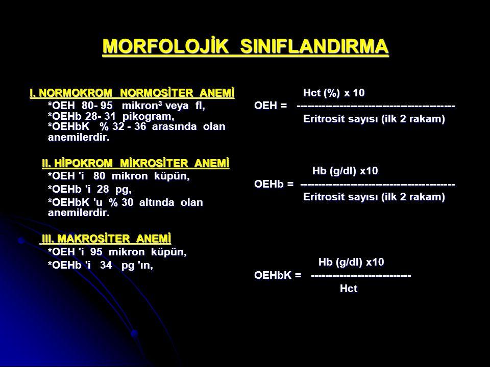 MORFOLOJİK SINIFLANDIRMA I. NORMOKROM NORMOSİTER ANEMİ *OEH 80- 95 mikron 3 veya fl, *OEHb 28- 31 pikogram, *OEHbK % 32 - 36 arasında olan anemilerdir