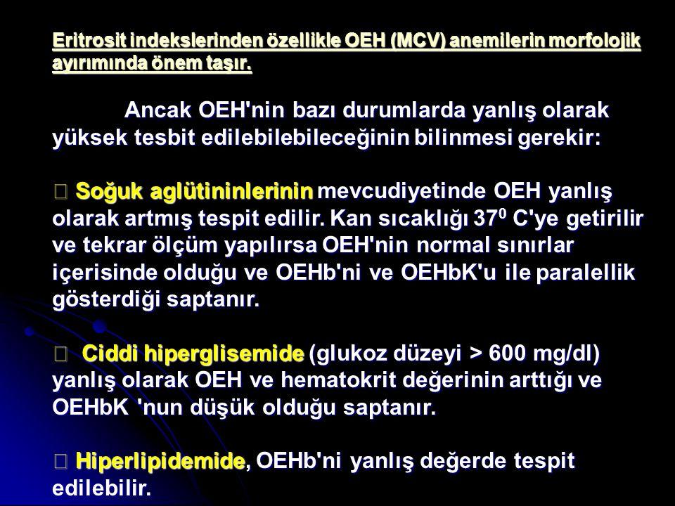 Eritrosit indekslerinden özellikle OEH (MCV) anemilerin morfolojik ayırımında önem taşır. Ancak OEH'nin bazı durumlarda yanlış olarak yüksek tesbit ed
