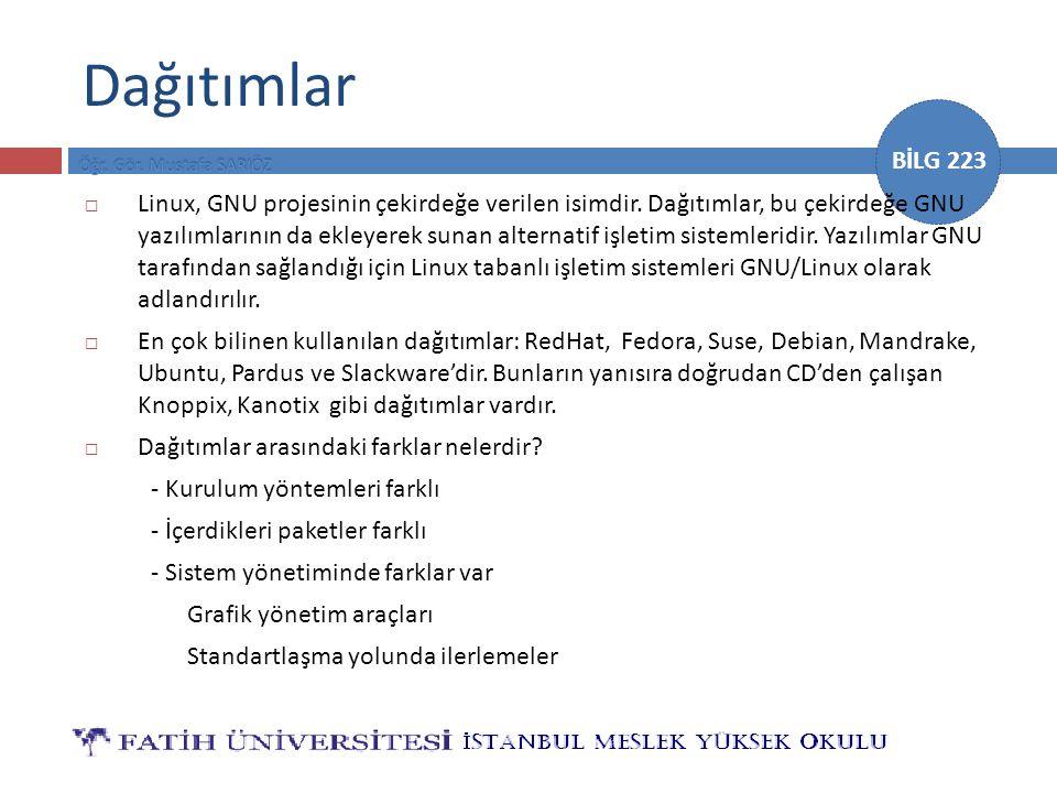 BİLG 223 Dağıtımlar  Linux, GNU projesinin çekirdeğe verilen isimdir. Dağıtımlar, bu çekirdeğe GNU yazılımlarının da ekleyerek sunan alternatif işlet