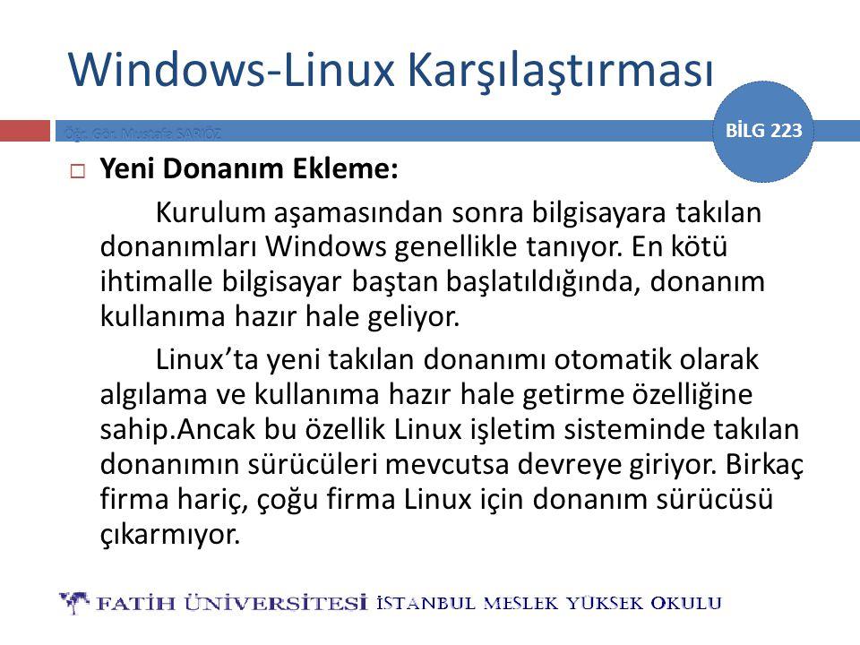BİLG 223 Windows-Linux Karşılaştırması  Yeni Donanım Ekleme: Kurulum aşamasından sonra bilgisayara takılan donanımları Windows genellikle tanıyor. En