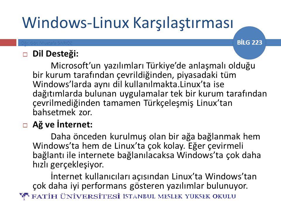 BİLG 223 Windows-Linux Karşılaştırması  Dil Desteği: Microsoft'un yazılımları Türkiye'de anlaşmalı olduğu bir kurum tarafından çevrildiğinden, piyasa