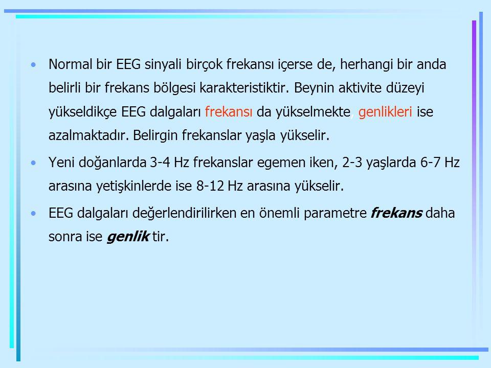Normal bir EEG sinyali birçok frekansı içerse de, herhangi bir anda belirli bir frekans bölgesi karakteristiktir. Beynin aktivite düzeyi yükseldikçe E