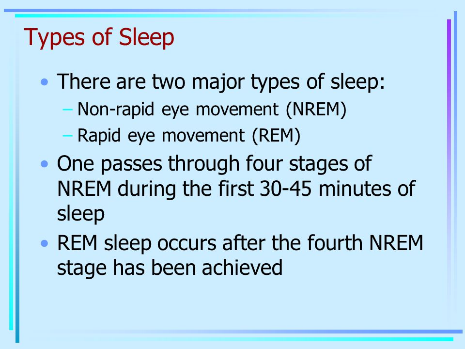 Types of Sleep There are two major types of sleep: –Non-rapid eye movement (NREM) –Rapid eye movement (REM) One passes through four stages of NREM dur
