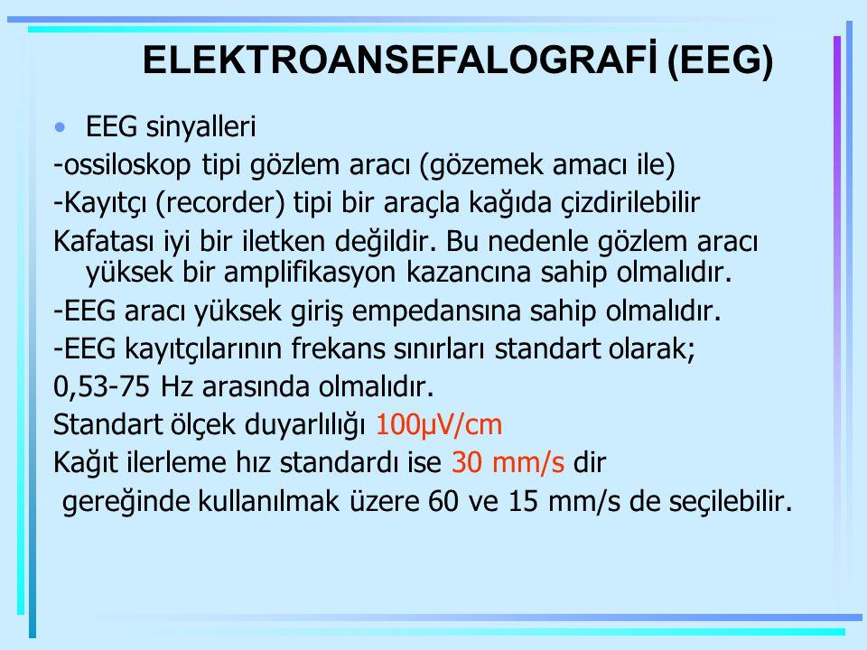 EEG Kafatası üzerindeki iki nokta arasındaki potansiyel farkının kaydı –Farklı bilinç durumları –Postsinaptik dereceli potansiyeller İki değişken: frekans & amplitüd –1-30 Hz & 0,5-100  V –Frekans uykuda azalır Talamusta ritim jeneratörleri ???