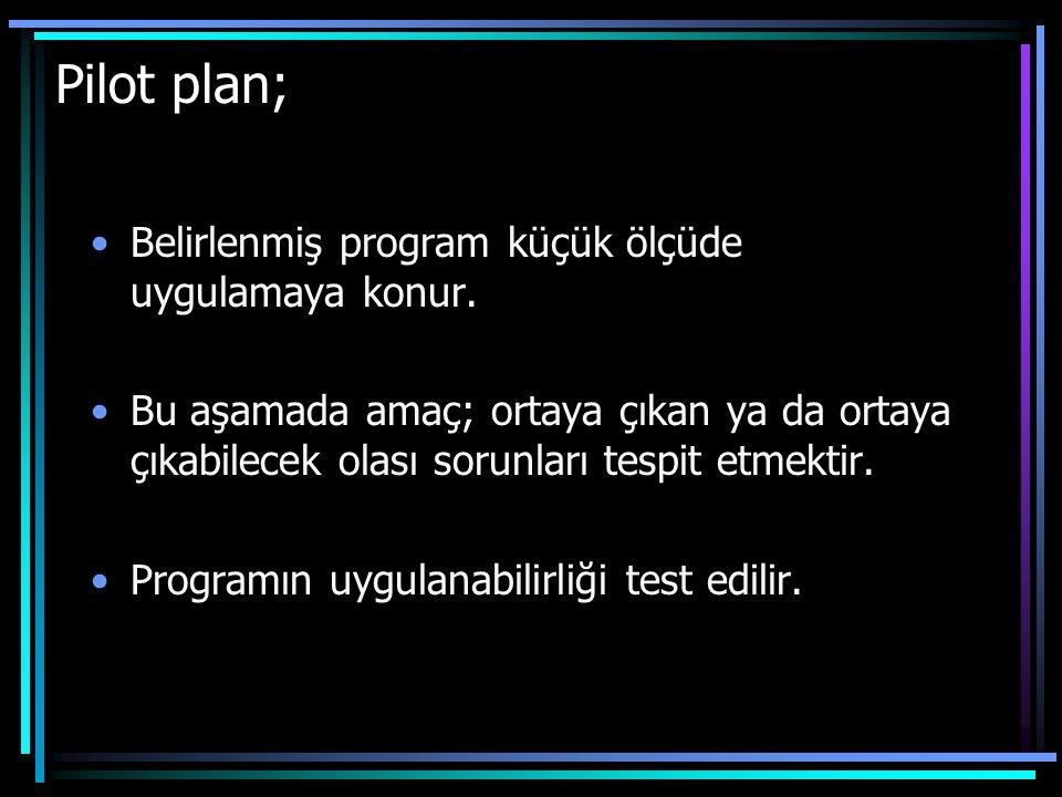 Pilot plan; Belirlenmiş program küçük ölçüde uygulamaya konur. Bu aşamada amaç; ortaya çıkan ya da ortaya çıkabilecek olası sorunları tespit etmektir.