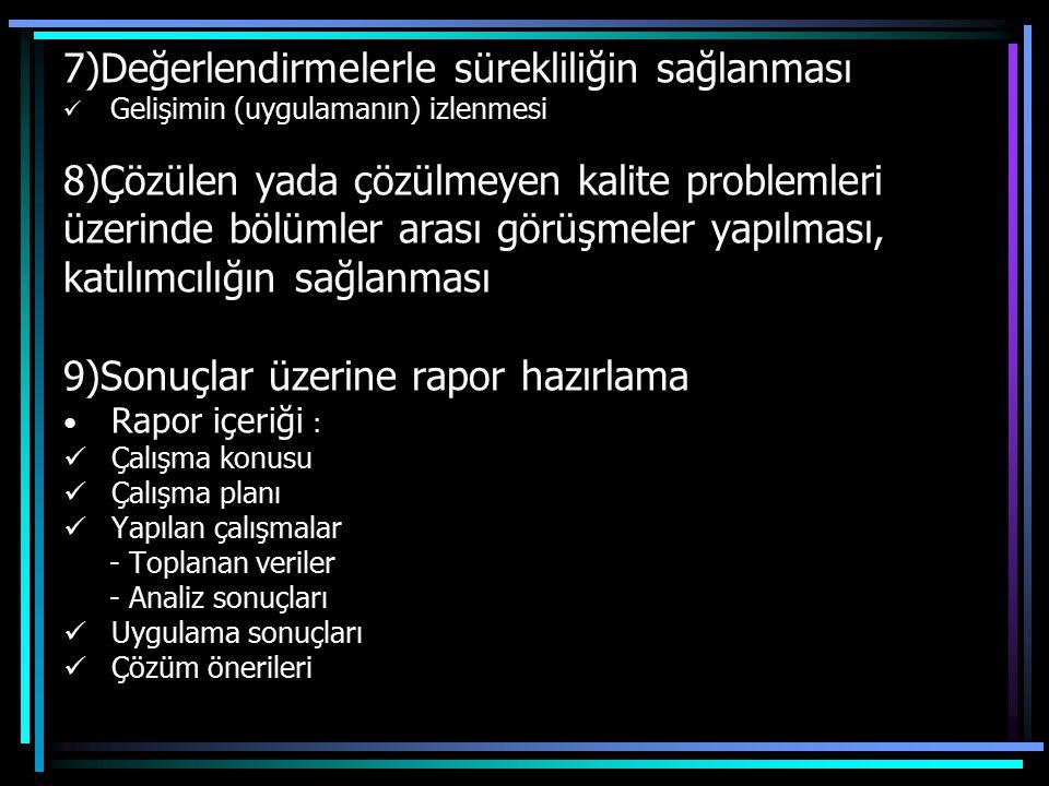 7)Değerlendirmelerle sürekliliğin sağlanması Gelişimin (uygulamanın) izlenmesi 8)Çözülen yada çözülmeyen kalite problemleri üzerinde bölümler arası gö