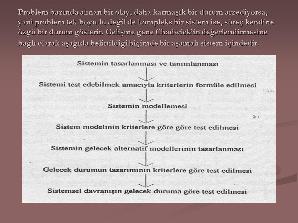Problem esasında sistemin bir parçasıdır ve gelecek için kurulan kavramsal sistem, saptanan hedeflerle amaca doğru gidiş için seçilmiş olan modeldir.