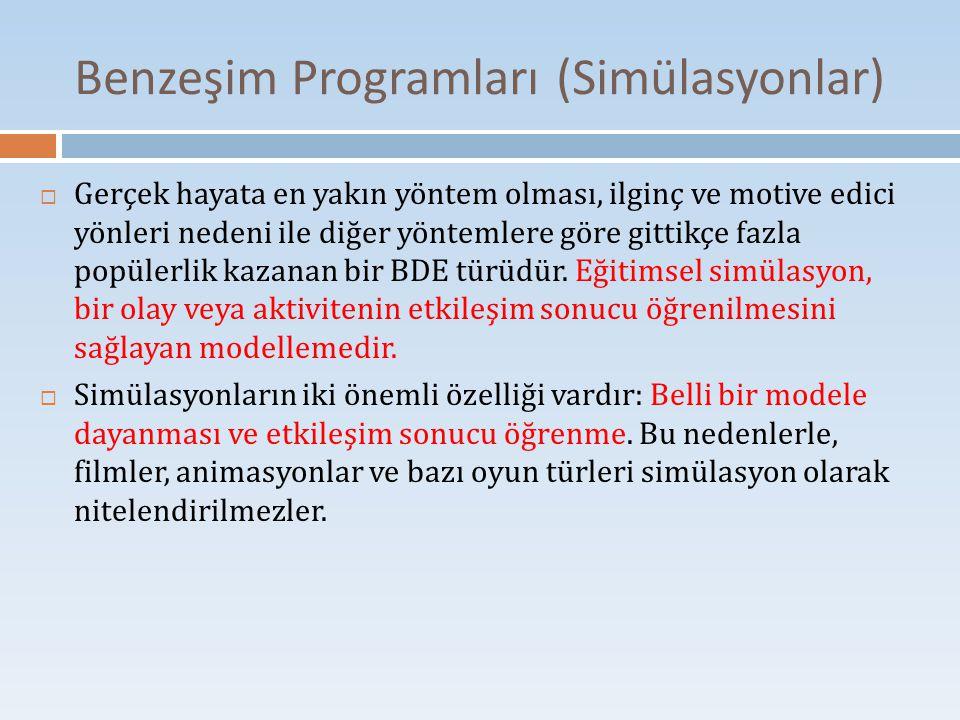 Benzeşim Programları (Simülasyonlar)  Gerçek hayata en yakın yöntem olması, ilginç ve motive edici yönleri nedeni ile diğer yöntemlere göre gittikçe