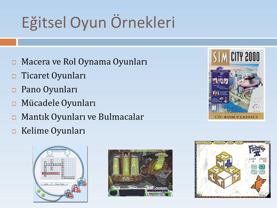 Eğitsel Oyun Örnekleri  Macera ve Rol Oynama Oyunları  Ticaret Oyunları  Pano Oyunları  Mücadele Oyunları  Mantık Oyunları ve Bulmacalar  Kelime