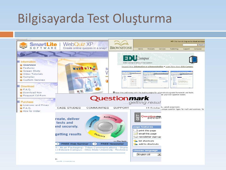 Bilgisayarda Test Oluşturma