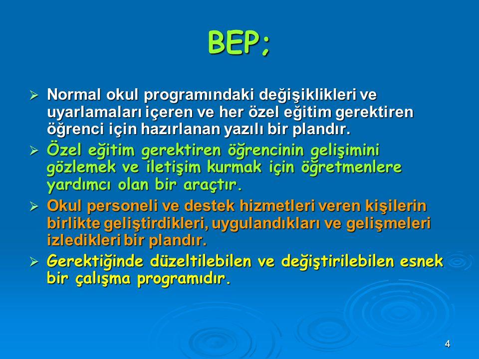 4 BEP;  Normal okul programındaki değişiklikleri ve uyarlamaları içeren ve her özel eğitim gerektiren öğrenci için hazırlanan yazılı bir plandır.