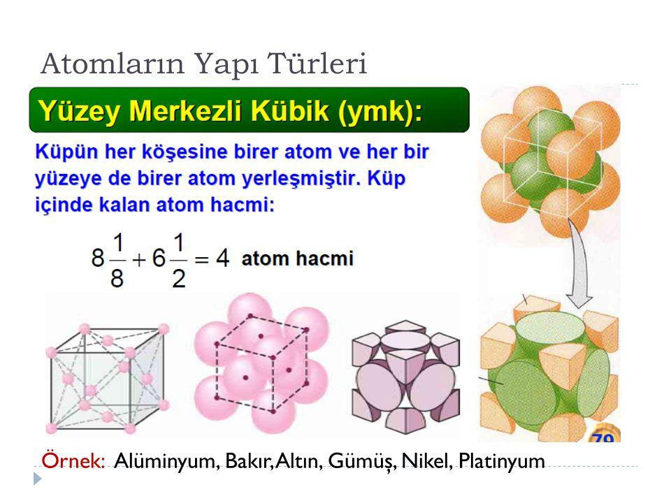 Örnek: Alüminyum, Bakır, Altın, Gümüş, Nikel, Platinyum