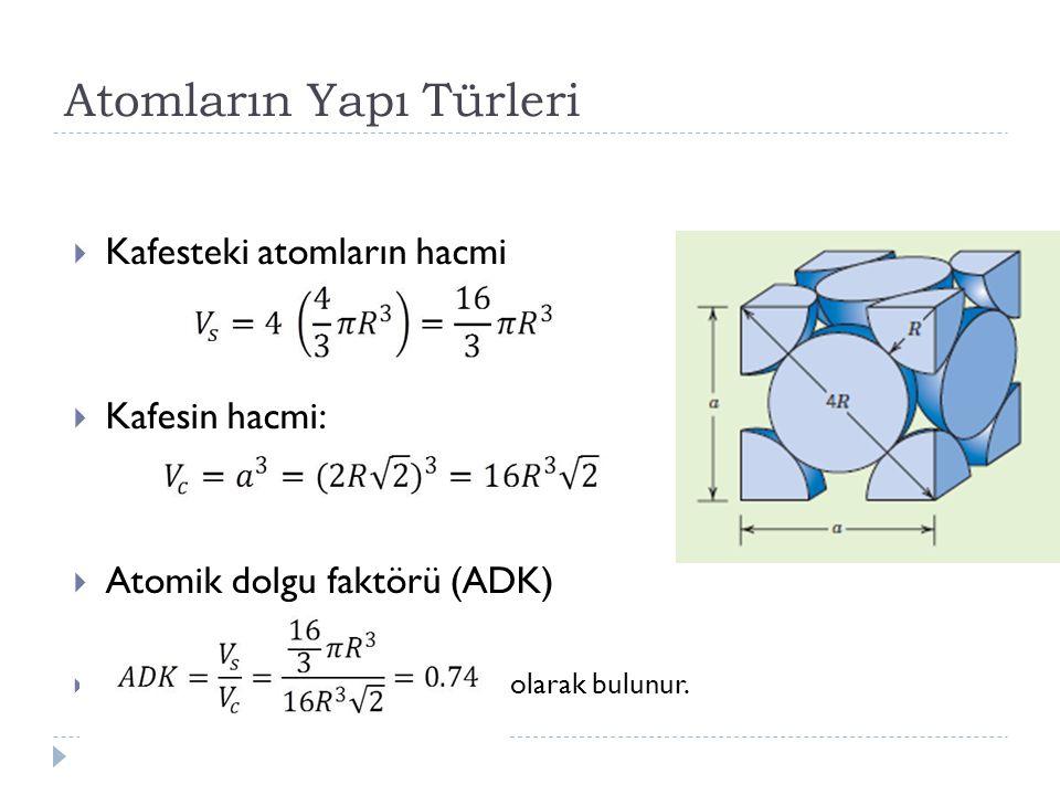 Atomların Yapı Türleri  Kafesteki atomların hacmi  Kafesin hacmi:  Atomik dolgu faktörü (ADK)  olarak bulunur.