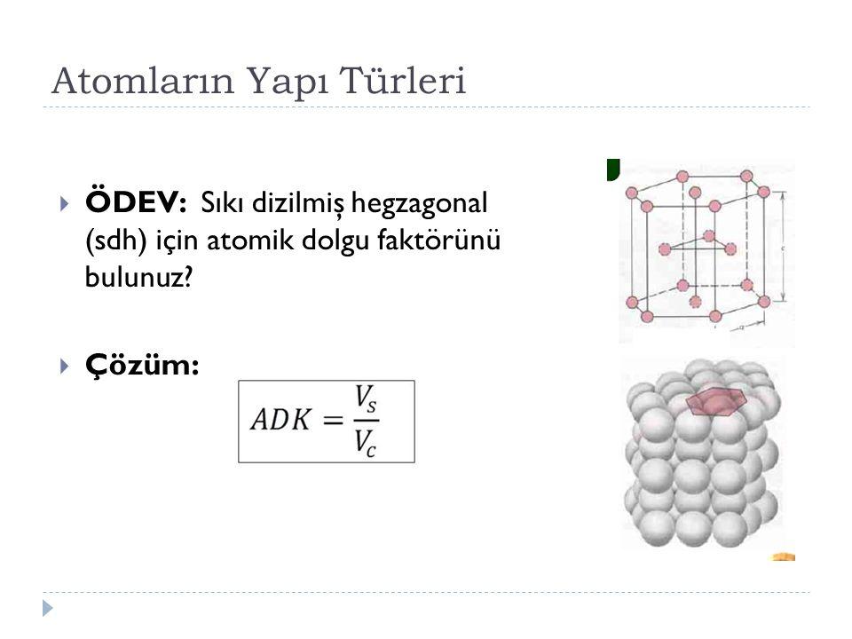 Atomların Yapı Türleri  ÖDEV: Sıkı dizilmiş hegzagonal (sdh) için atomik dolgu faktörünü bulunuz?  Çözüm: