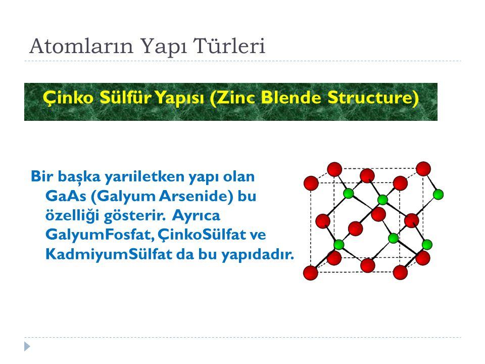 Atomların Yapı Türleri Çinko Sülfür Yapısı (Zinc Blende Structure) Bir başka yarıiletken yapı olan GaAs (Galyum Arsenide) bu özelli ğ i gösterir. Ayrı
