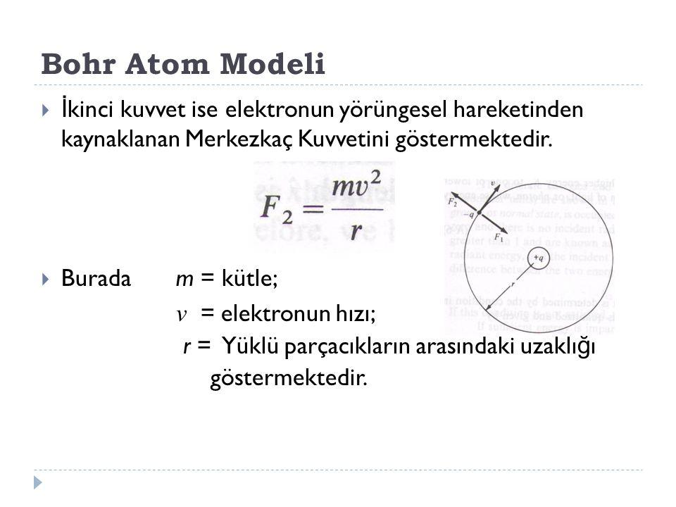 Bohr Atom Modeli  İ kinci kuvvet ise elektronun yörüngesel hareketinden kaynaklanan Merkezkaç Kuvvetini göstermektedir.  Burada m = kütle; v = elekt