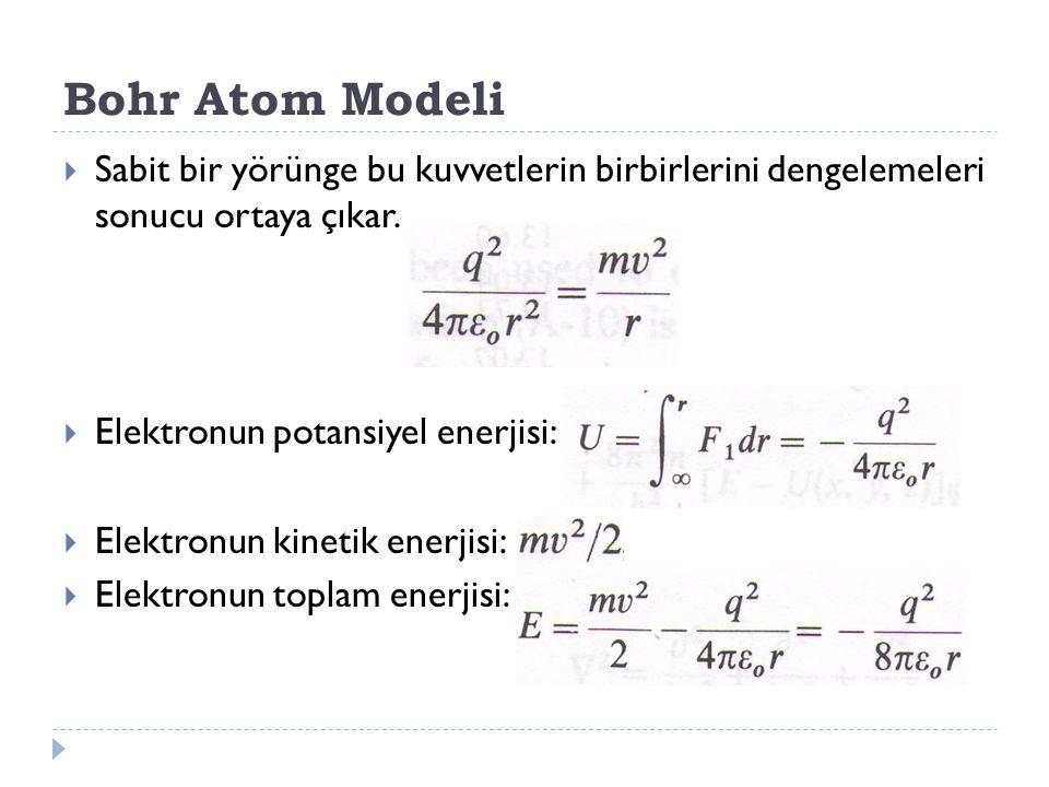 Bohr Atom Modeli  Sabit bir yörünge bu kuvvetlerin birbirlerini dengelemeleri sonucu ortaya çıkar.  Elektronun potansiyel enerjisi:  Elektronun kin