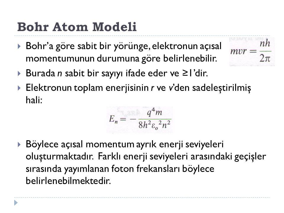 Bohr Atom Modeli  Bohr'a göre sabit bir yörünge, elektronun açısal momentumunun durumuna göre belirlenebilir.  Burada n sabit bir sayıyı ifade eder