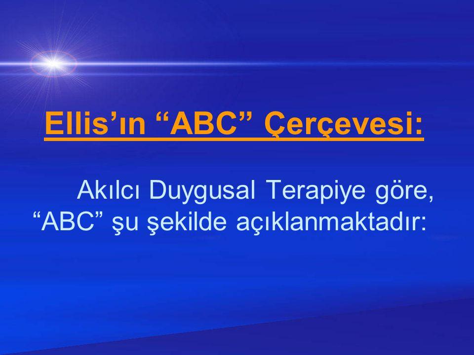 """Ellis'ın """"ABC"""" Çerçevesi: Akılcı Duygusal Terapiye göre, """"ABC"""" şu şekilde açıklanmaktadır:"""