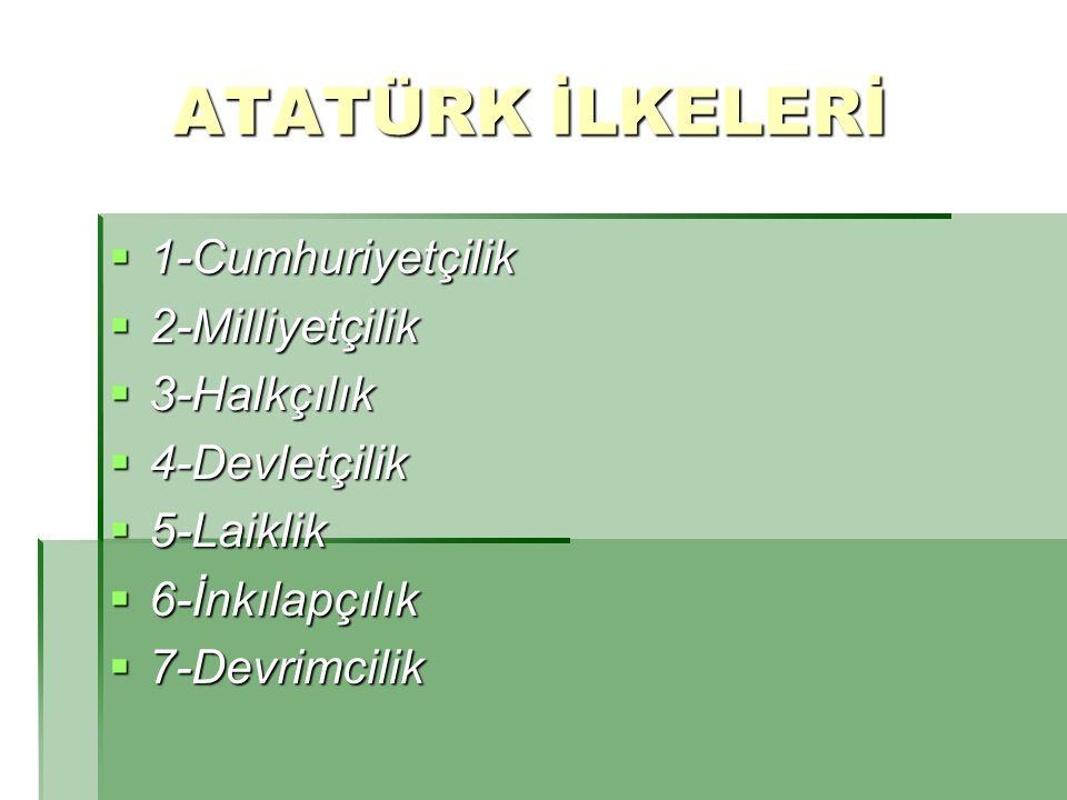 Atatürk İlke ve İnkılapları Atatürk ün büyük bir titizlikle kurduğu ve bizlere emanet ettiği en büyük eseri Türkiye Cumhuriyeti nin sonsuza kadar yaşaması, Onun ilke ve inkılaplarına sahip çıkma ile olur.