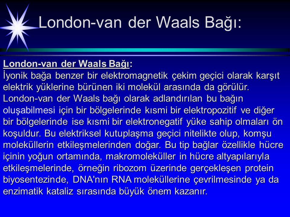 London-van der Waals Bağı: İyonik bağa benzer bir elektromagnetik çekim geçici olarak karşıt elektrik yüklerine bürünen iki molekül arasında da görülür.