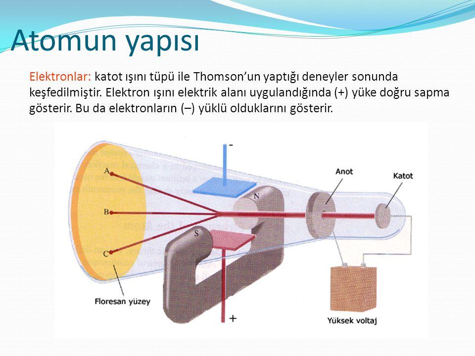 Atomun yapısı Elektronlar: katot ışını tüpü ile Thomson'un yaptığı deneyler sonunda keşfedilmiştir. Elektron ışını elektrik alanı uygulandığında (+) y