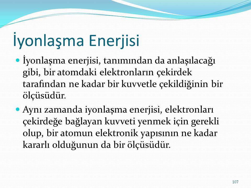 İyonlaşma Enerjisi İyonlaşma enerjisi, tanımından da anlaşılacağı gibi, bir atomdaki elektronların çekirdek tarafından ne kadar bir kuvvetle çekildiğinin bir ölçüsüdür.