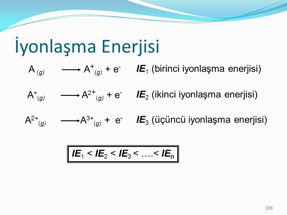 İyonlaşma Enerjisi 109 A (g) A + (g) + e - A + (g) A 2 + (g) + e - A 2+ (g) A 3+ (g) + e - IE 1 (birinci iyonlaşma enerjisi) IE 2 (ikinci iyonlaşma enerjisi) IE 3 (üçüncü iyonlaşma enerjisi) IE 1 < IE 2 < IE 3 < ….< IE n
