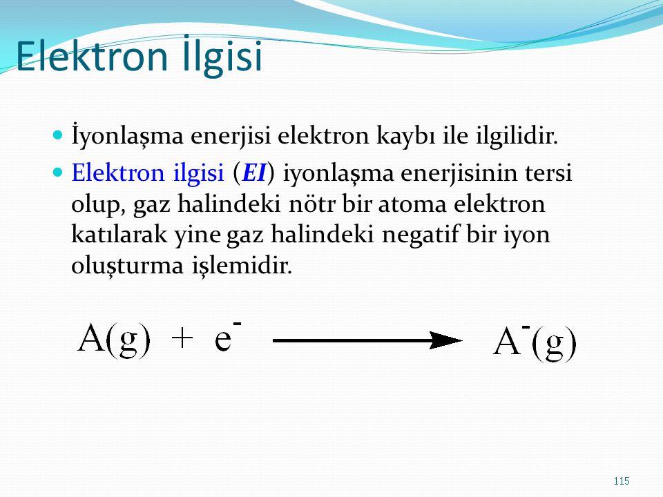 Elektron İlgisi İyonlaşma enerjisi elektron kaybı ile ilgilidir. Elektron ilgisi (EI) iyonlaşma enerjisinin tersi olup, gaz halindeki nötr bir atoma e