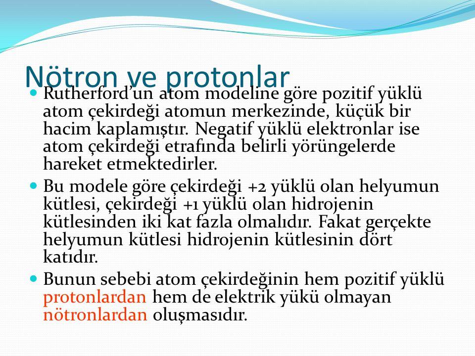 Nötron ve protonlar Rutherford'un atom modeline göre pozitif yüklü atom çekirdeği atomun merkezinde, küçük bir hacim kaplamıştır.
