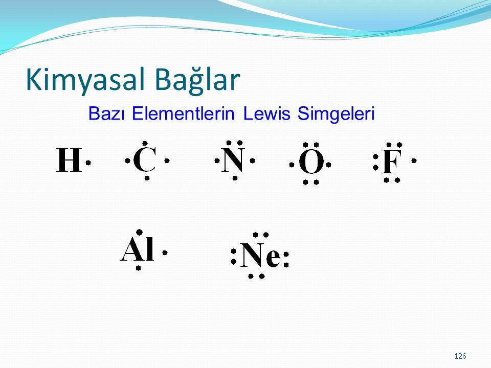 Kimyasal Bağlar 126 Bazı Elementlerin Lewis Simgeleri