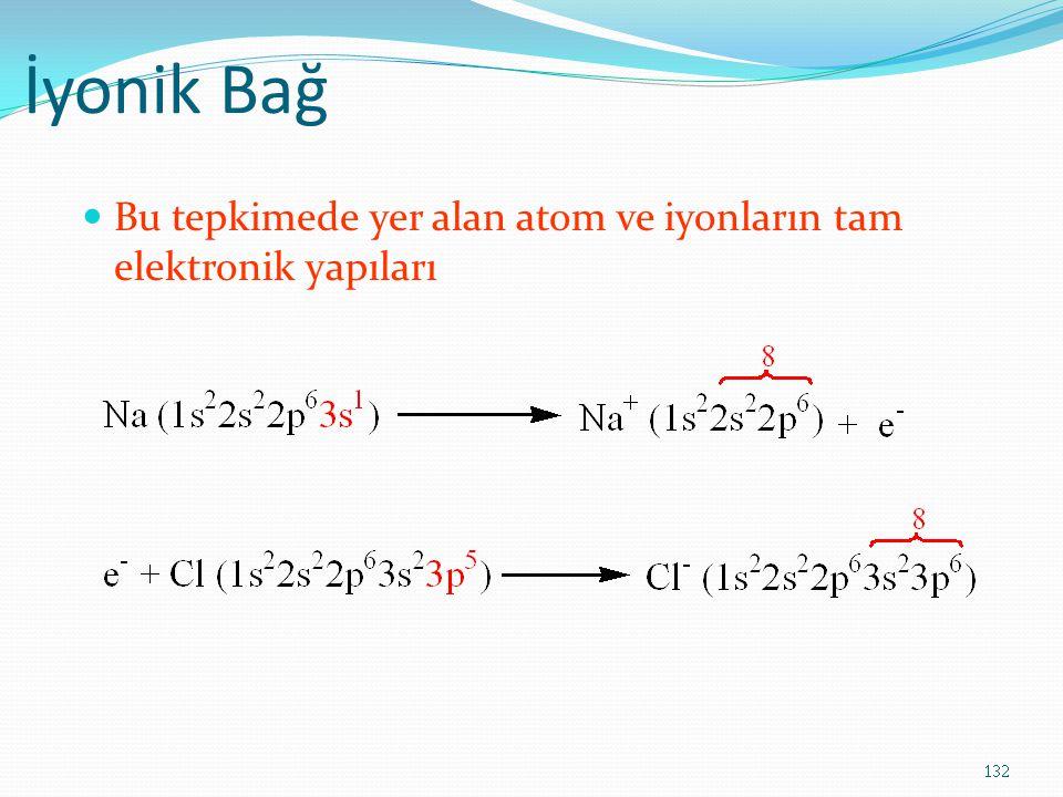 İyonik Bağ Bu tepkimede yer alan atom ve iyonların tam elektronik yapıları 132