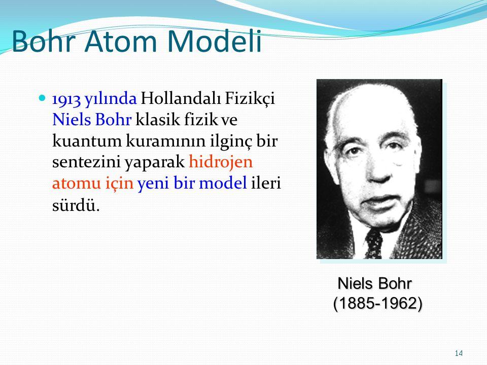 Bohr Atom Modeli 1913 yılında Hollandalı Fizikçi Niels Bohr klasik fizik ve kuantum kuramının ilginç bir sentezini yaparak hidrojen atomu için yeni bir model ileri sürdü.