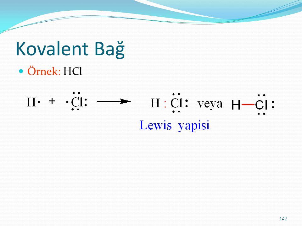 Kovalent Bağ Örnek: HCl 142