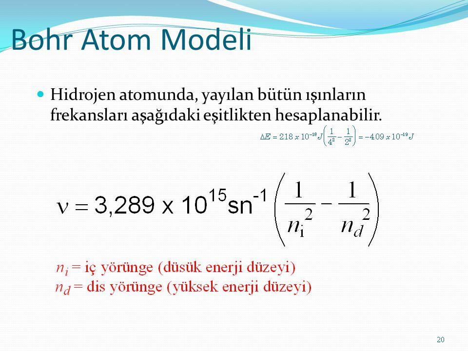 Bohr Atom Modeli Hidrojen atomunda, yayılan bütün ışınların frekansları aşağıdaki eşitlikten hesaplanabilir. 20