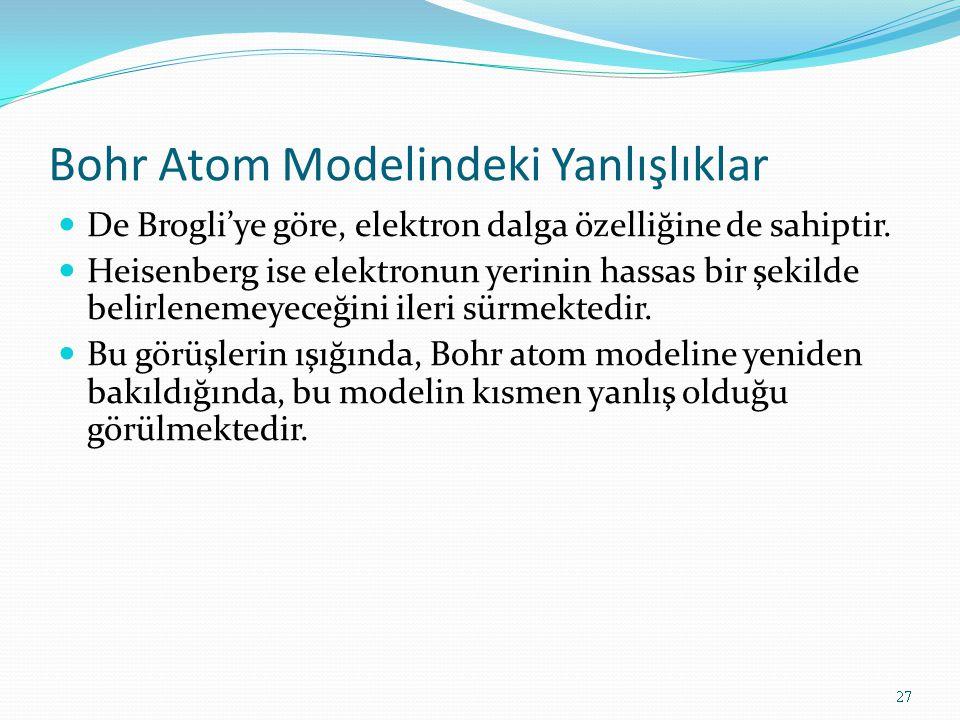 Bohr Atom Modelindeki Yanlışlıklar De Brogli'ye göre, elektron dalga özelliğine de sahiptir. Heisenberg ise elektronun yerinin hassas bir şekilde beli