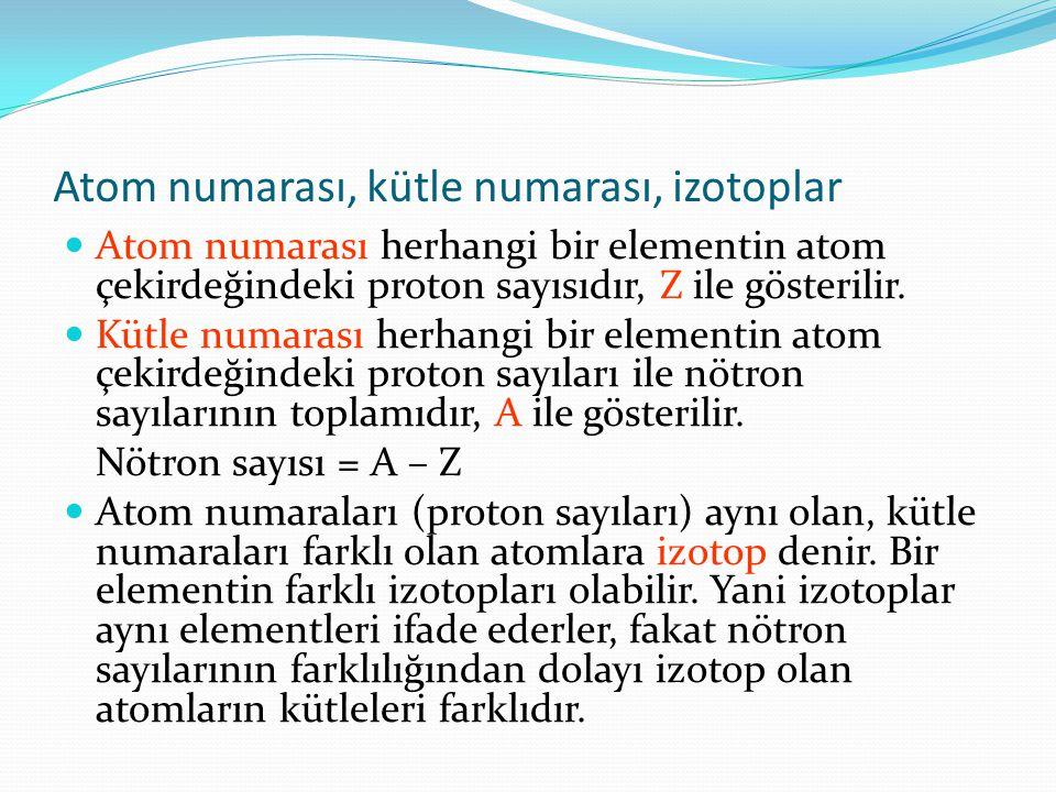 Atom numarası, kütle numarası, izotoplar Atom numarası herhangi bir elementin atom çekirdeğindeki proton sayısıdır, Z ile gösterilir.