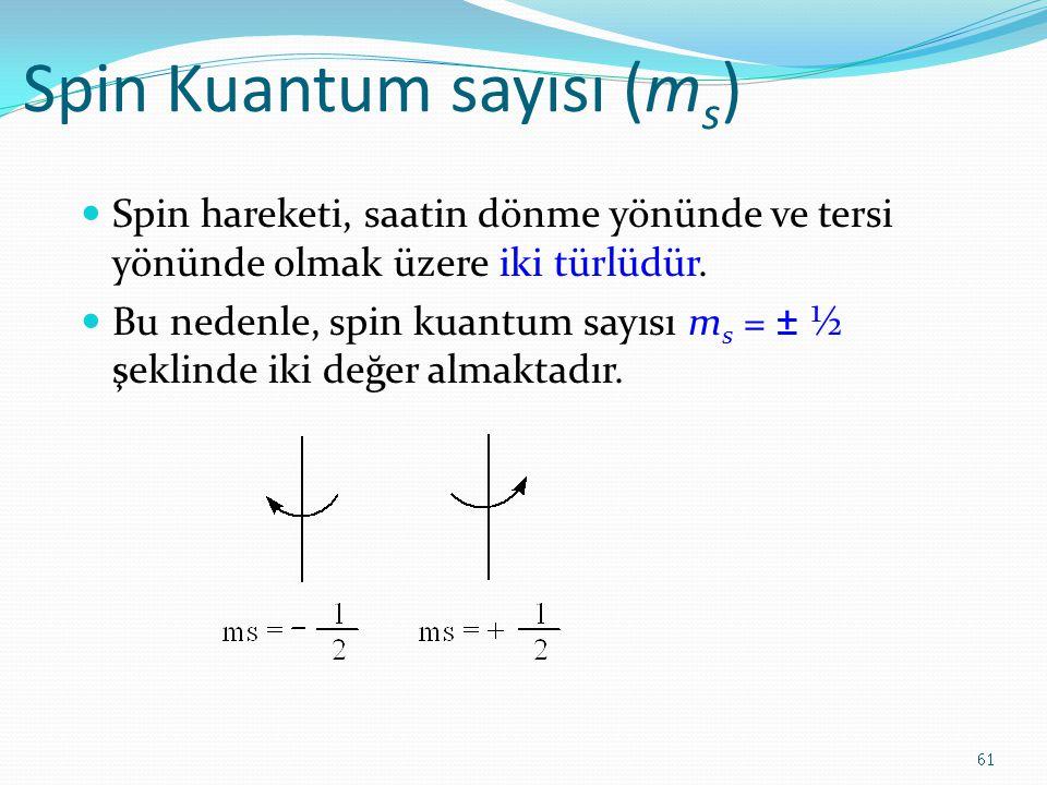 Spin Kuantum sayısı (m s ) Spin hareketi, saatin dönme yönünde ve tersi yönünde olmak üzere iki türlüdür. Bu nedenle, spin kuantum sayısı m s = ± ½ şe