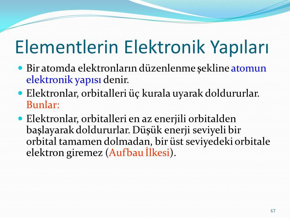 Elementlerin Elektronik Yapıları Bir atomda elektronların düzenlenme şekline atomun elektronik yapısı denir. Elektronlar, orbitalleri üç kurala uyarak