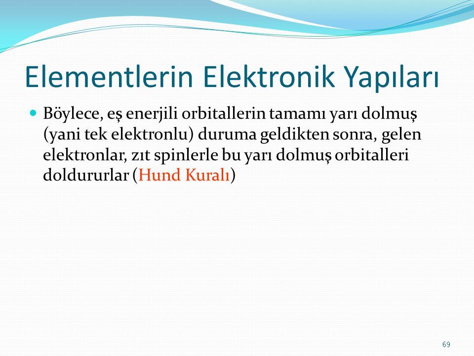 Elementlerin Elektronik Yapıları Böylece, eş enerjili orbitallerin tamamı yarı dolmuş (yani tek elektronlu) duruma geldikten sonra, gelen elektronlar, zıt spinlerle bu yarı dolmuş orbitalleri doldururlar (Hund Kuralı) 69