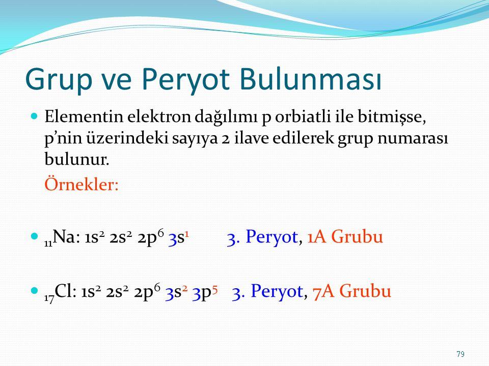 Grup ve Peryot Bulunması Elementin elektron dağılımı p orbiatli ile bitmişse, p'nin üzerindeki sayıya 2 ilave edilerek grup numarası bulunur. Örnekler