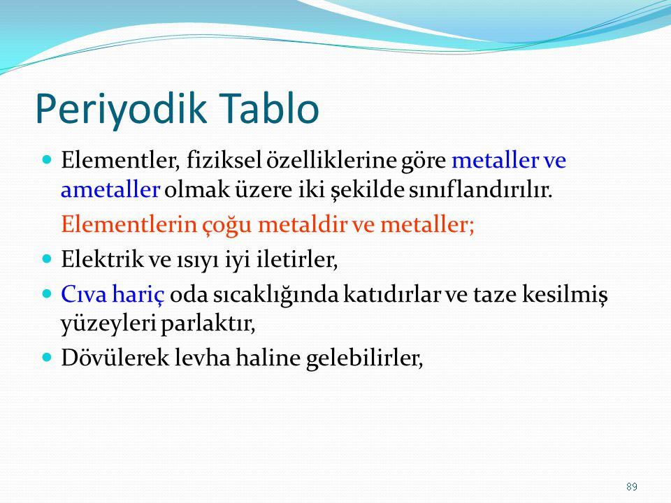 Periyodik Tablo Elementler, fiziksel özelliklerine göre metaller ve ametaller olmak üzere iki şekilde sınıflandırılır. Elementlerin çoğu metaldir ve m