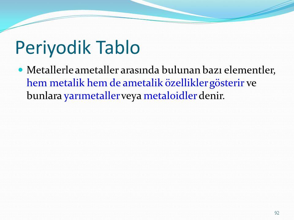Periyodik Tablo Metallerle ametaller arasında bulunan bazı elementler, hem metalik hem de ametalik özellikler gösterir ve bunlara yarımetaller veya metaloidler denir.