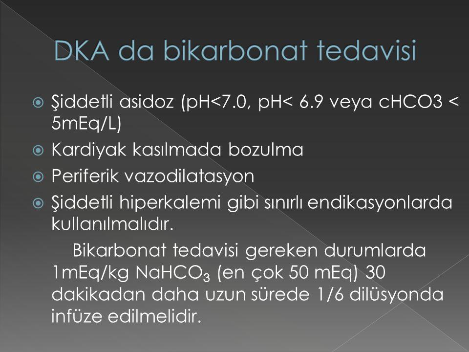  Şiddetli asidoz (pH<7.0, pH< 6.9 veya cHCO3 < 5mEq/L)  Kardiyak kasılmada bozulma  Periferik vazodilatasyon  Şiddetli hiperkalemi gibi sınırlı en