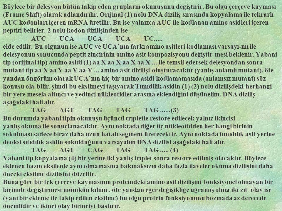 Böylece bir delesyon bütün takip eden grupların okunuşunu değiştirir. Bu olgu çerçeve kayması (Frame Shıft) olarak adlandırılır. Orıjinal (1) nolu DNA