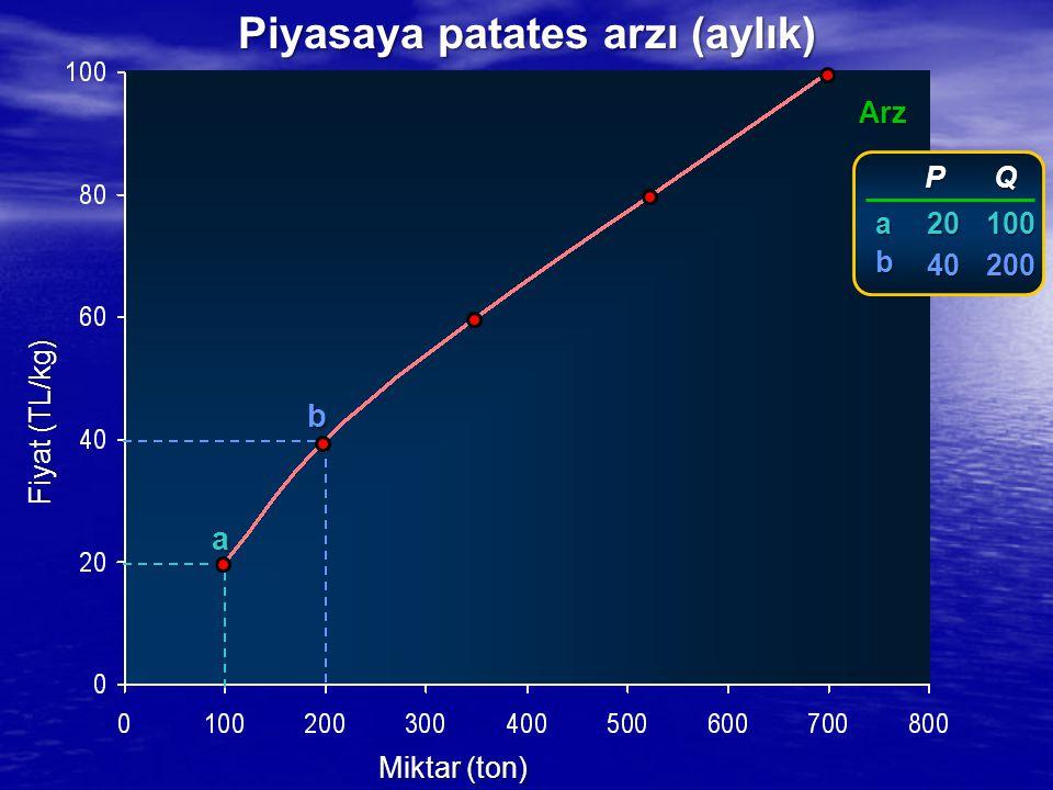 Fiyat (TL/kg) Miktar (ton) Arz a b P P 20 20 40 40 Q100200 ab Piyasaya patates arzı (aylık)